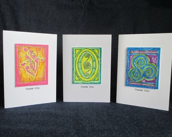 Celtic-inspired Greeting Cards - Set of 3 - Thank You