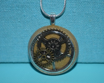 Steampunk Gears and Cogs Round Gold Necklace, Resin Jewelry
