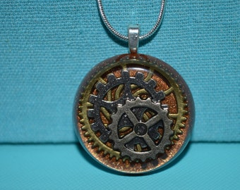 Steampunk Bronze Back with Gears and Cogs Round Necklace, Resin Jewelry