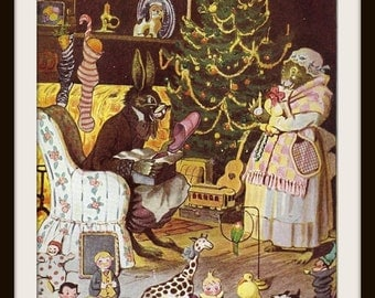 Uncle Wiggily Book Print (1939): Christmas Tree Picture, Muskrat Housekeeper, Bunny Rabbit, Frameable Wall Art, Nursery Home Decor, Fantasy