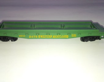 Vintage Tyco HO Scale Model Railroad Train Western Maryland 2475 50' Flat Car