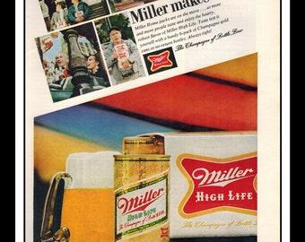 "Vintage Print Ad October 1968 : Beer - Miller High Life Wall Art Decor 8.5"" x 11"" Advertisement"