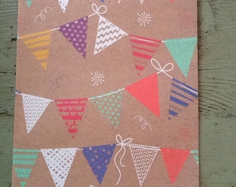 Bunting Kraft Wrapping Paper.  Flag Bunting Folded Wrapping Paper. Kraft Gift Wrap (68X50cm)