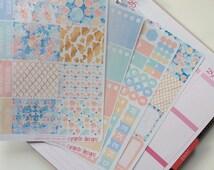 EC 'Seascape' Planner Sticker Kit - plan in your Vertical Erin Condren Life Planner - Blue, Seafoam, Coral, Gold. Starfish, Sea, Ocean.