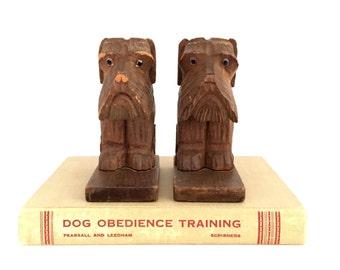 Vintage Scotty Dog Bookends, Wood