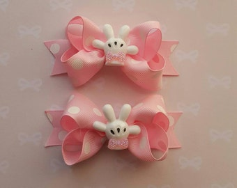 Minnie Mouse Hair Bows - Small Boutique Bows - Twisted Bows - Minnie Mouse Glove - Sparkly  Little Bow