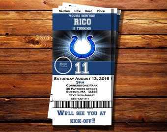 Indianapolis Colts Ticket Party Invitation-Shipping Included on Price for Printed Orders- Can be customized for any Occasssion