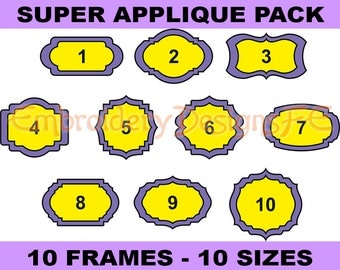 SALE !!! Frame Applique Design - Set of 10 Frames - Machine Embroidery Design File