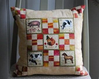 Farm Animal Patchwork Cushion, Children's Pillow, Nursery Cushion, Cushion Cover, Pillow Cover, Cushions