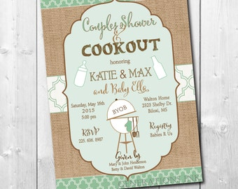 Couples Baby Shower Invitation/Couples Baby Q Shower/Digital File/printable/Co-ed Baby Shower, rustic, bbq/Wording & colors can be changed