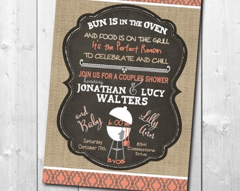 "Couples Baby Shower Invitation..""Bun in Oven"" / DIGITAL / printable / wording and colors can be changed/fall, burlap, chalkboard, Baby Q"