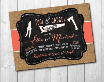 Tool and Gadget Shower Invitation / DIGITAL FILE / printable / wording and colors can be changed