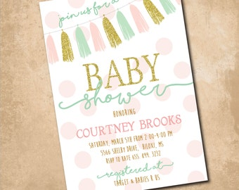 Adorable Baby Shower Invitation with gold glitter detail / Digital file or Printing options / wording can be changed