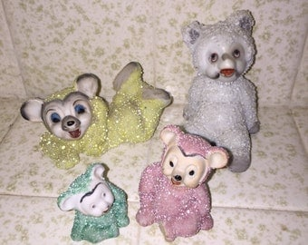 12 Vintage Japan Ceramic Snow Bears - Green and Yellow and Pink and White - Snowbabies - Bradley Exclusives