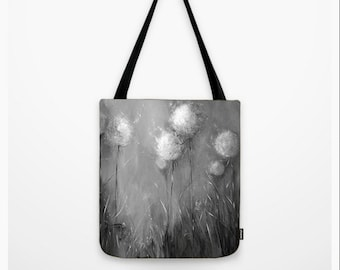 Black tote Black and white tote Dandelion tote Art tote Wearable art Artsy bag sepia Lap top Designer Neutral Julie McDowell Girls book bag