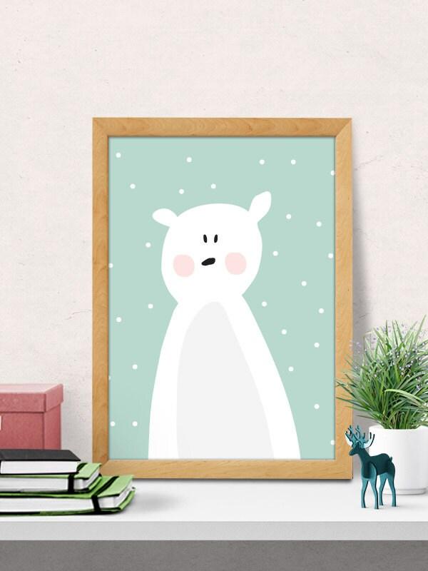 Bear print cute bear nursery wall decor modern nursery - Modern nursery wall decor ...