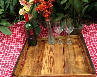 Handcrafted wood tray from reclaimed wood#7