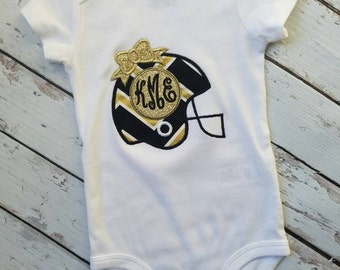 Monogramed girls New Orleans Saints football shirt. Who Dat !!! FREE SHIPPING