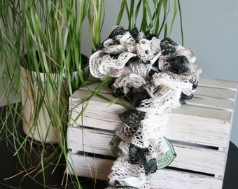 Black, Taupe and White Lacey Ruffle Scarf