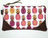 Large Pink on White Aloha Pineapple Zipper Clutch / Zip Pouch with inside lining and Suede Zipper Pull or Leather Wristlet Strap