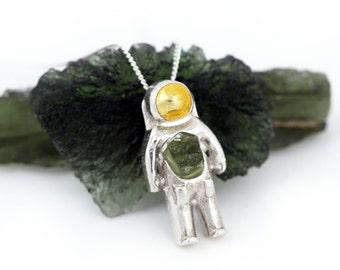 Moldavite Astronaut Space Pendant - Sterling Silver