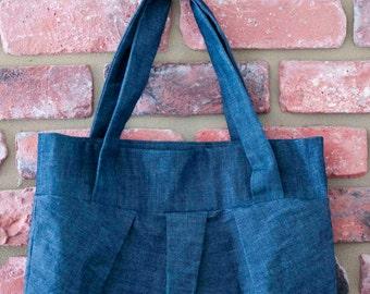 Pleated Denim Bag