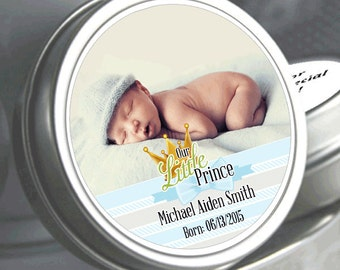 """12 Our Little Prince Baby Shower Photo Mint Tin Favors - Need a different quantity? Click on the """"choose total"""" tab to see all pricing"""