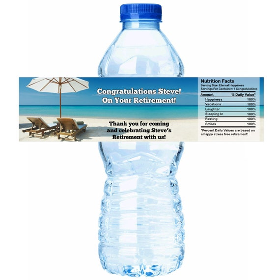 Personalized Retirement Beach Theme Water Bottle Labels