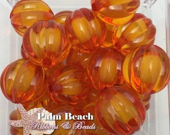 Ten (10 pcs) 20mm ORANGE Watermelon Pumpkin Transparent Bubblegum Acrylic Beads