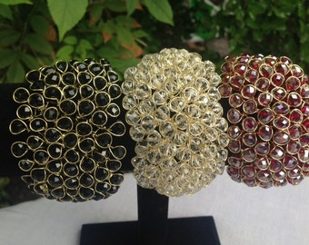 Crochet Wire and Crystal Beads Bracelets, Cuff Style