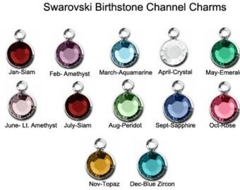 6mm Swarovski Channel Drop, Birthstone Charm