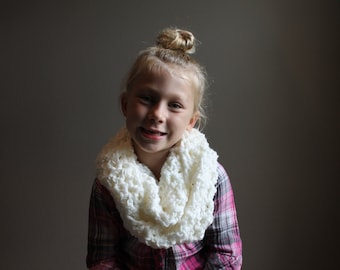 Soft White youth infinity crocheted scarf
