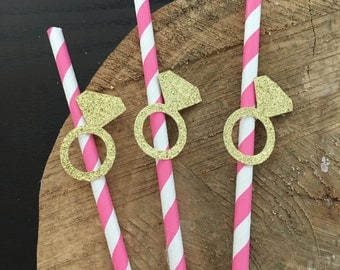 12 hot pink and gold paper straw .. bridal shower .. bachelorette party .. diamond ring paper straws