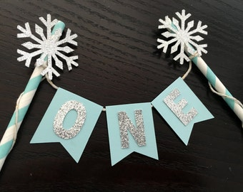 Snowflake cake bunting banner ... Frozen party decor .. cake topper ... birthday cake topper