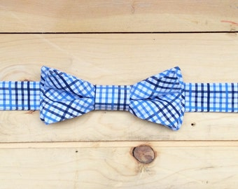 Hand Made White/Blue/Navy Plaid Bow Tie, Made From Reclaimed Cotton.