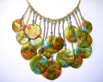 Unique Polymer Clay Abstract Multicored Disc Statement Necklace
