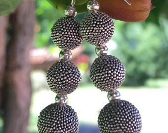 Sterling silver earrings, Bali sterling silver beads
