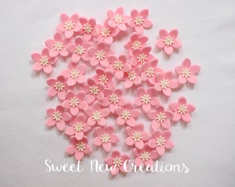 "Fondant flower cake pop decorations 1.25"" edible flowers pink white pink cupcake toppers wedding baby shower decorations"
