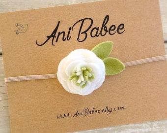 White Felt Flower Headband, White and Green Felt Flower Headbands, Felt Headband, Felt Baby Headbands, Flower Headbands