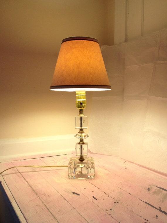 Lead Crystal Lamp Vintage Lamp Clear Glass Vintage Light