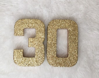 Silver Gold Glitter 30th - Birthday - Anniversary - Stand Up Paper Mache -Party Decor -Dirty 30 -Photo Prop -Decoration - Glam -CUSTOMIZABLE