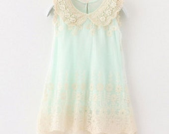 Sleeveless vintage inspired lace collared princess dress