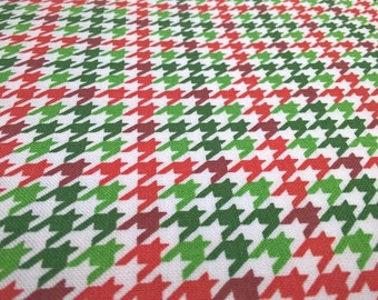 Christmas Houndstooth Fabric, Red White and Green Houndstooth Check, 100% Cotton, Craft Cotton, Quilting Cotton, By the Yard / Fat Quarter