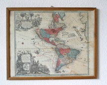 "Antique french  ""America old map""  with frame 1600 s // old sky map // old maps and prints //"