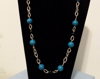 Black and Blue Bead Necklace