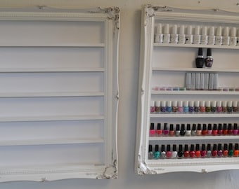 Nail polish rack white gloss with white sparkle wallpaper  larger size will house 70 bottles