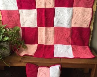 Handmade Crochet Blanket Throw Afghan lounge gift bedding gift Cherry pink white, cushion pillow, patchwork housewarming gift Etsy Australia