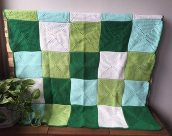 Handmade Crochet Blanket Throw Afghan, lounge gift, bedding gift, Dark green light green white, Patchwork, housewarming gift, Etsy Australia