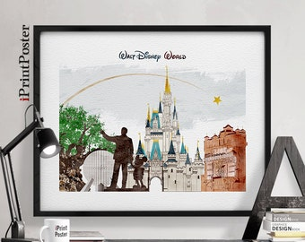 Disney, poster, wall art, watercolor, disney print, Disney world, disney poster, disney castle, home decor, gift, wall decor, iPrintPoster