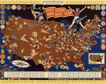 "Vintage 1939 Albert Richard Football Map Giclee Fine Art Print 18""x 24"" college football"